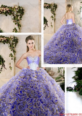 2016 Hot Sale Ruffles Lavender Sweet 16 Dresses with Beading