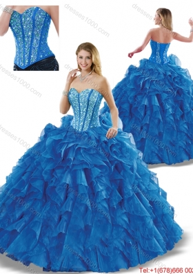 Elegant Beading Sweetheart Detachable Quinceanera Dresses in Blue