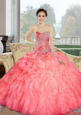 Fashionable 2015 Beading and Ruffles Sweetheart Quinceanera Dresses in Watermelon