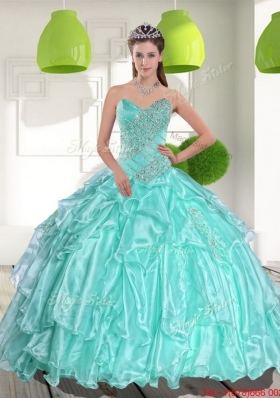 Latest Ball Gown Sweetheart Appliques and Beading Sweet Fifteen Dresses