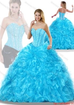 Luxurious Aqua Blue Detachable Quinceanera Dresses with Beading