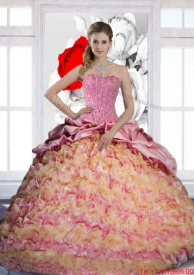 Most Popular Pick Ups and Ruffles Sweetheart 2015 Quinceanera Dresses in Multi Color