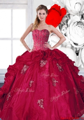 Most Popular Sweetheart Beading and Ruffles Quinceanera Gown with Appliques