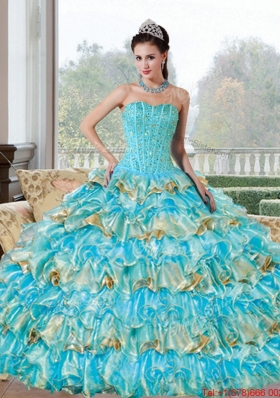 Multi Colored Beading and Ruffled Layers Sweetheart Quinceanera Dresses for 2015