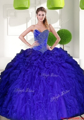 New Style Peacock Blue Sweetheart Beading Ball Gown Quinceanera Dress with Ruffles