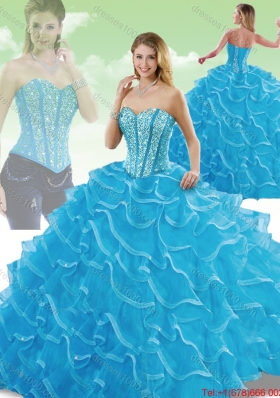 Perfect Sweetheart Detachable Quinceanera Dresses with Beading and Ruffles