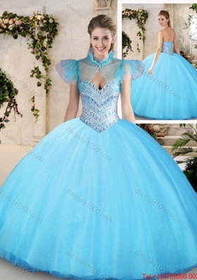 Modest Sweetheart Aqua Blue Quinceanera Dresses with Beading for 2016