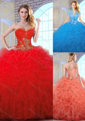 2016 Cheap Appliques and Ruffles Quinceanera Gowns with Sweetheart