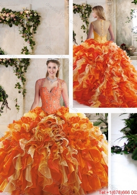 2016 Classical Straps Quinceanera Dresses with Beading and Ruffles