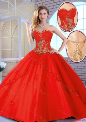 2016 Fall Cheap Appliques Sweetheart Quinceanera Gowns in Red