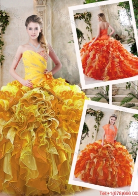 Beautiful Beading and Ruffles Quinceanera Dresses in Multi Color for 2016