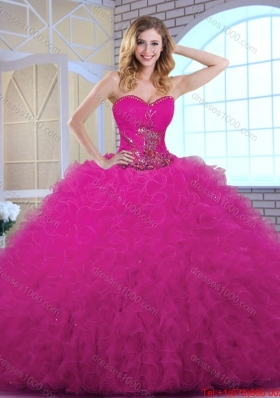 Classical Ball Gown Sweetheart Quinceanera Dresses in Fuchsia