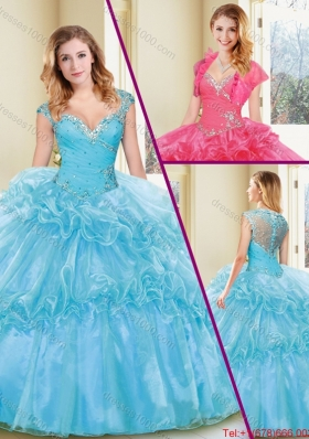 Fashionable Beading and Ruffles Quinceanera Dresses in Aqua Blue