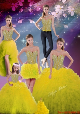 2015 Fall Detachable Sweetheart Yellow Modest Quinceanera Dresses with Beading and Ruffles