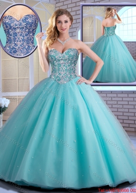 2015 Fall New Style Beading Sweetheart Quinceanera Dresses in Aqua Blue