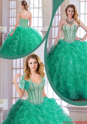 2015 Fall Perfect Turquoise Quinceanera Dresses with Beading and Ruffles