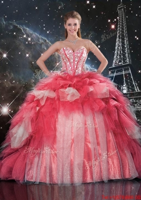 2015 Summer Popular Beaded Ball Gown Quinceanera Dresses with Brush Train