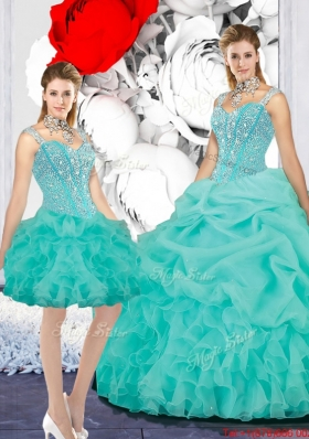 2016 Fall New Style Straps Ball Gown Detachable Quinceanera Dresses in Turquoise