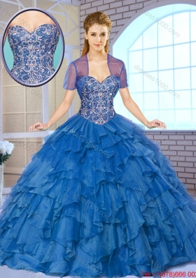 2016 Spring Gorgeous Beading and Ruffles Quinceanera Gowns with Sweetheart