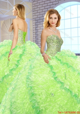 2016 Spring New Arrivals Sweetheart Quinceanera Gowns with Beading and Ruffles