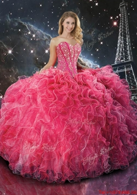 2016 Spring Pretty Coral Red Sweetheart Quinceanera Dresses with Beading and Ruffles