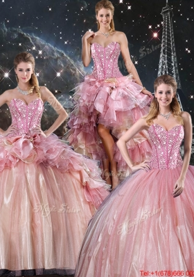 2016 Summer Beautiful Ball Gown Beaded Tulle Detachable Sweet 16 Dresses with Belt