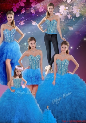 2016 Summer Discount Sweetheart Beaded and Ruffles Detachable Quinceanera Dresses