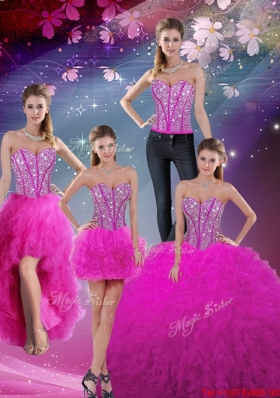 2016 Winter Perfect and Detachable Sweetheart Ball Gown Beaded and Ruffles Quinceanera Dresses in Fuchsia
