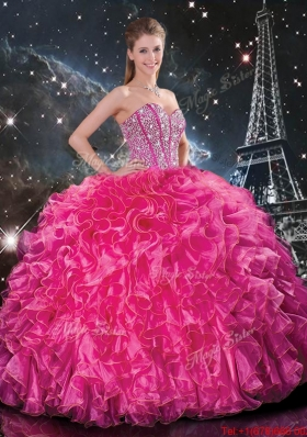 2016 Winter Perfect Floor Length Quinceanera Gowns with Beading and Ruffles