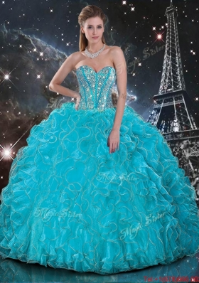 Discount 2016 Summer Aqua Blue Sweetheart Quinceanera Gowns with Beading and Ruffles