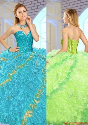 Exclusive Beading Multi Color Quinceanera Gowns for 2016