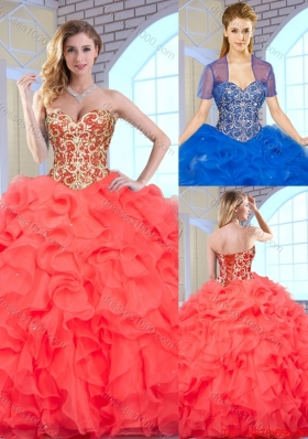 Fashionable Coral Red Quinceanera Gowns with Beading and Ruffles
