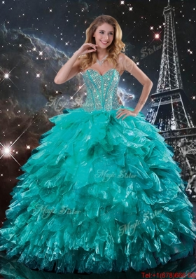 Luxurious 2015 Fall Brush Train Turquoise Quinceanera Dresses with Beading and Ruffles