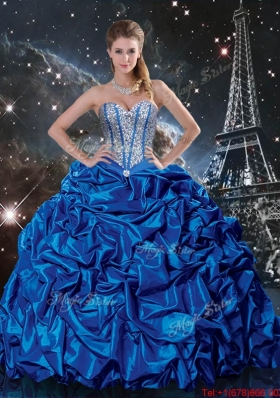 Luxurious 2016 Fall Royal Blue Quinceanera Dresses with Beading and Pick Ups