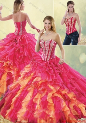 2015 Fall Gorgeous Multi Color Detachable Quinceanera Dresses with Beading and Ruffles