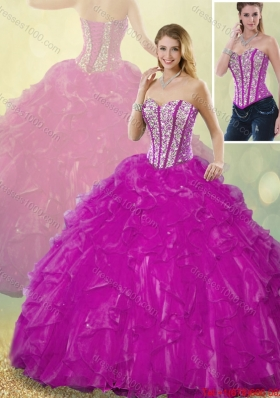 2015 Fall Latest Ball Gown Fuchsia Quinceanera Dresses with Beading