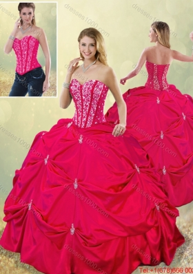 2015 Fall Perfect Sweetheart Beading Detachable Quinceanera Gowns in Hot Pink