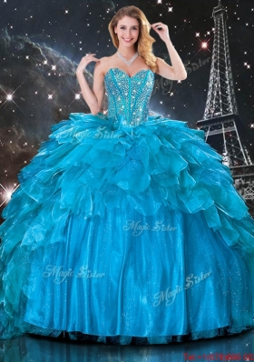 2016 Artistic Ball Gown Beaded Detachable Quinceanera Gowns in Blue