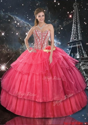 2016 Comfortable Hand Made Flowers Coral Red Quinceanera Dresses with Beading