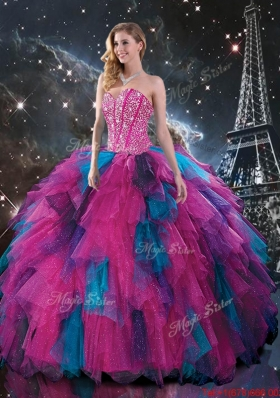 2016 Feminine Multi Color Sweetheart Quinceanera Dresses with Beading