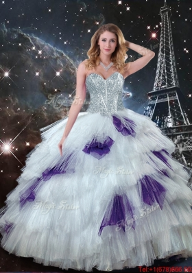 2016 Gorgeous Sweetheart White Quinceanera Dresses with Beading