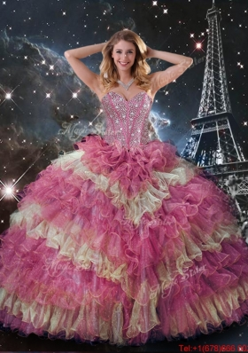 2016 Perfect Beaded Multi Color Quinceanera Dresses with Ruffled Layers