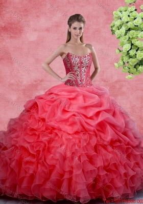 2016 Popular Beaded and Ruffles Quinceanera Gowns in Coral Red