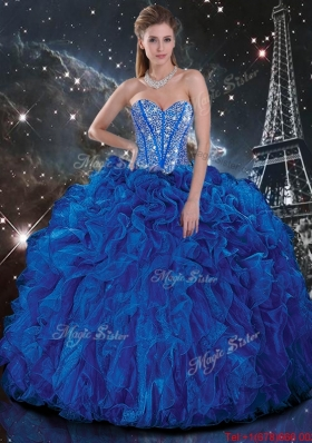 2016 Popular Royal Blue Quinceanera Dresses with Beading and Ruffles