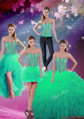 2016 Pretty Sweetheart Beaded and Ruffles Detachable Quinceanera Dresses in Turquoise