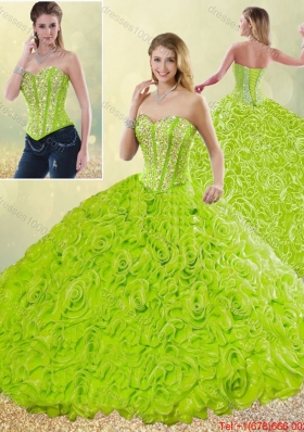 2016 Spring Modest Rolling Flowers Quinceanera Gowns with Sweetheart