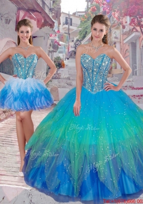 2016 Wonderful Ball Gown Detachable Quinceanera Dresses in Multi Color