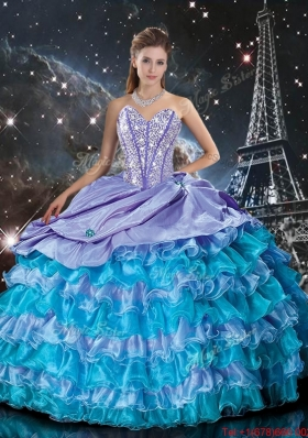 2016 Wonderful Multi Color Sweet 16 Dresses with Ruffled Layers and Beading