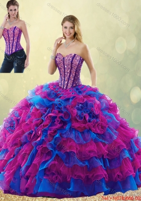 Classical 2016 Multi Color Detachable Quinceanera Gowns with Beading