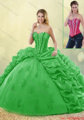 Elegant Spring Detachable Quinceanera Dresses with Beading and Appliques